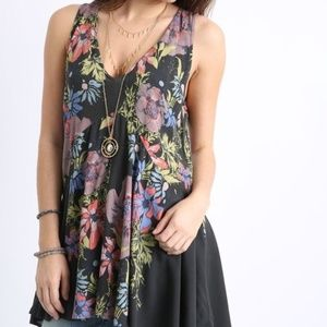Free People backyard Floral High Low Tunic S
